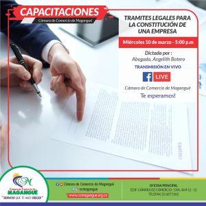 TRAMITES LEGALES PARA LA CONSTITUCIÓN DE UNA EMPRESA. @ FACEBOOK CÁMARA DE COMERCIO MAGANGUÉ