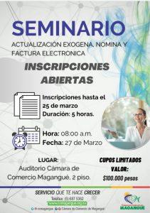 SEMINARIO ACTUALIZACIÓN EXOGENA, FACTURA Y NOMINA ELECTRÓNICA. @ SALÓN JORGE YUNEZ DAO
