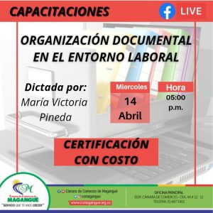 CAPACITACIÓN ORGANIZACIÓN DOCUMENTAL EN EL ENTORNO LABORAL @ FACEBOOK CÁMARA DE COMERCIO MAGANGUÉ